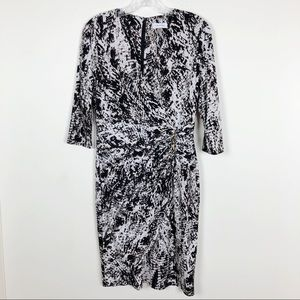 Calvin Klein Faux Wrap Animal Print Career Dress 8
